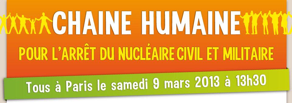 Chaine humaine pour sortir du nucléaire à Paris le 9 mars