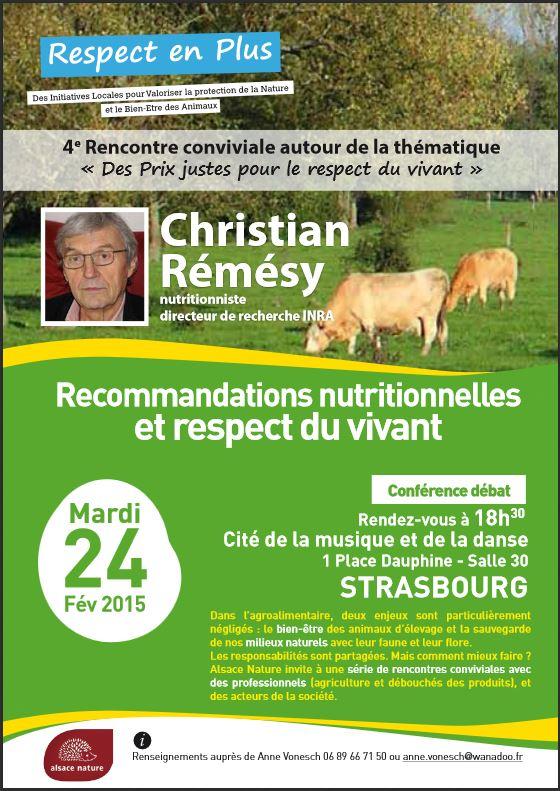 """[Conférence Alsace Nature] 24 février : """"Recommandations nutritionnelles : avec ou sans le respect du vivant ?"""""""