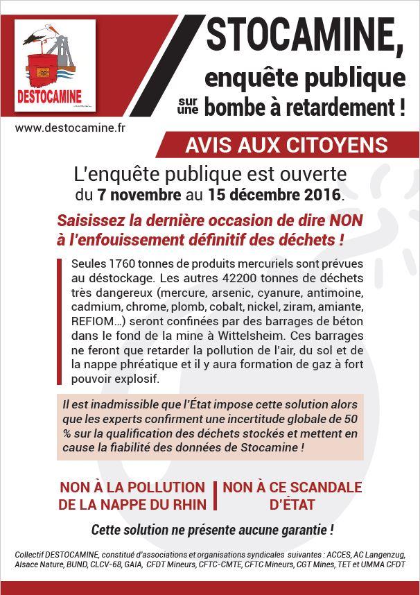 Stocamine : participez à l'enquête publique pour demander le déstockage des déchets toxiques menaçant la nappe phréatique