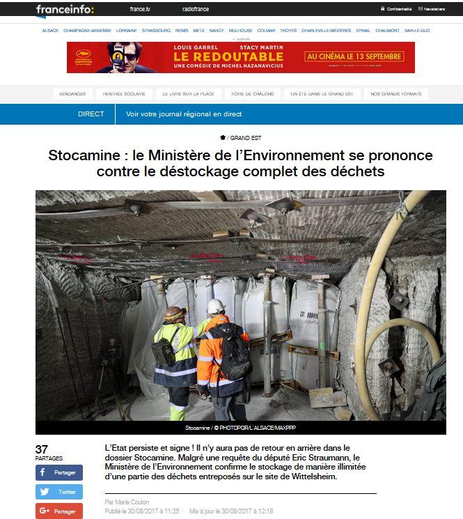 [revue de presse] déchets de Stocamine: Nicolas Hulot valide le déstockage partiel