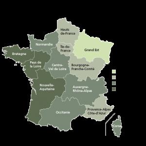 Pourcentage de la surface des forêts privées par région